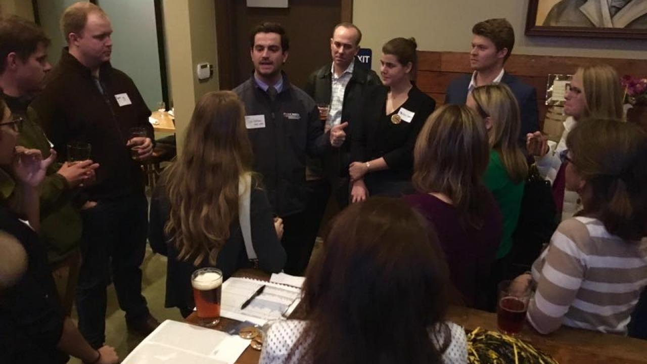 Group of alumni and friends at a networking event