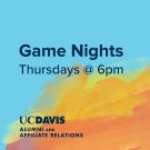 "Text says ""game nights Thursdays @6pm Alumni and Affiliate Relations"