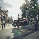 Picture of a London street of a doubledecker bus and Big Ben.