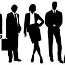 Black and white clip art of business people