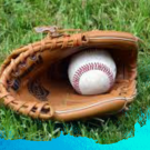 baseball glove on the grass with a blue watermark around the edges