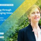 Photo of woman smiling. Text reads: Alumni Career Network, Leading through challenging times, March 24, 2021, 12:00-1:00 PM PST, University of California